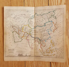 """Map of Asia, 1850, Vintage, hand-coloured, 7x8"""", Geography, Middle East, Siberia"""