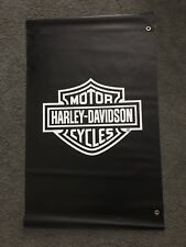 "Harley-Davidson NOS Black & White Bar & Shield Outdoor Banner 48"" x 30"" / 2sided"