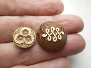 """2 Lovely Buffed Celluloid Vintage Brown Colors Buttons 7/8"""" & 9/16"""" RS"""