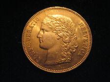 "MDS SCHWEIZ SWITZERLAND 20 FRANKEN 1896 B ""VRENELI"", GOLD"