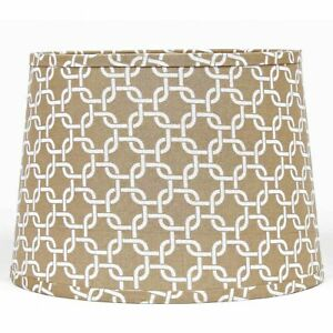 Lamp Shade 10 inch Drum Style Ring Clip Beige Ivory Greek Key Neutral Decor