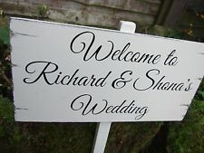 BRIDE & GROOM WELCOME WEDDING SIGN PERSONALISED VINTAGE PLAQUES / SIGNS