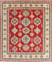 Kazak Area Rug Hand-Knotted Oriental Geometric Wool 8 x 9 NEW Carpet Red