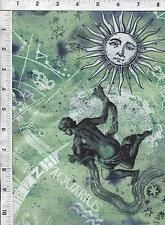 "Fabri Quilt Horoscope New Dawn Aquarius sign 100% cotton 43"" Fabric by the yard"