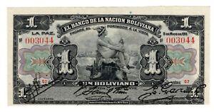 Bolivia P-102b  1 Boliviano 1911 Red Serie Q2 Nice Error Note Print