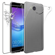 Pour Huawei Y6 2017 Coque gel en silicone - TRANSPARENT + 1 verre trempé