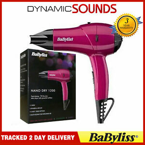 BaByliss 5282BAU Nano Dry 1200W Multi Voltage Hair Dryer - Pink