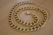 NWT Adjustable Chunky Gold Tone Metal Thick Link Chain Belt One Size Fits All