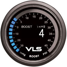 """TANABE REVEL VLS TURBO BOOST GAUGE 30 IN TO 45PSI 52MM 2-1/16"""" OLED LED"""