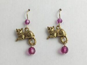 Gold-Tone Pewter& 14k gf earwire Lounging Cat earrings- cats, pussy, feline,pink