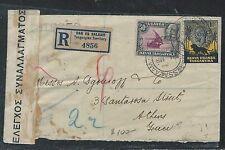 KENYA  UGANDA TANGANYIKA (P2609B)1938 KGV 10C+50C REG VIA EGYPT TO GREECE CENSOR