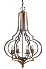 Pendant Chandelier w Geometric Shape and Wrought Iron Finish 4 Bulb Fixture