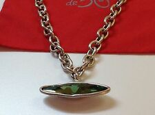 "NWT Uno de 50 Silvertone Chain Necklace W/ Green Swarovski Crystal 17"". ""eyes"