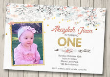 RUSTIC 1ST BIRTHDAY INVITATION ANY AGE Birthday Party Invite FLORAL GIRLS FIRST