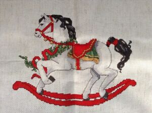 Finished Completed Cross Stitch Christmas Rocking Horse