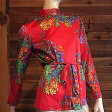 VINTAGE KAYSER RED FLORAL SIZE SMALL BLOUSE or TOP