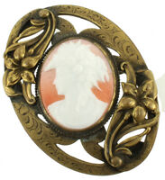 """Antique  Fancy Oval Engraved Victorian Cast Settings Art Glass Cameo 2 3/4"""""""