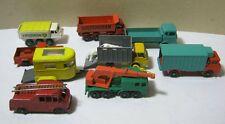 Vintage Matchbox Cars Trucks Lot of 9 Fire Truck Cattle Truck Crane T*