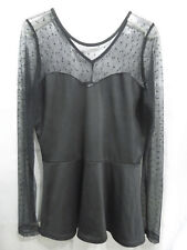 Rocksteady W 1X Lace Polka Dot Black Blouse Made in USA
