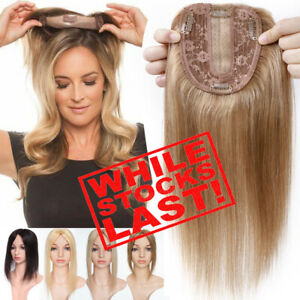 100% Real Remy Human Hair Mono Topper Toupee Clips Hairpiece Top Wigs Caramel US