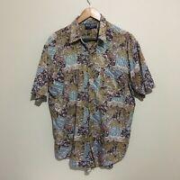 Blue Ridge Abstract Floral Vintage 90's Button Front Shirt Mens Large 100cm