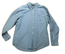 Nautica Sea Voyage Mens  Button Down Long Sleeve Shirt Blue Size XL