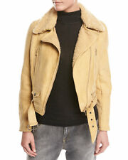 New Brunello Cucinelli Belted Shearling Fur Moto Jacket Size S, 6 US, 42 I $8495