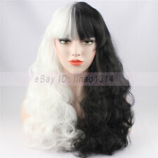2-6 Days Ship Women's Cosplay Wig Full Bang Long Curly Synthetic Black and White