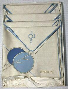Vintage Irish Linen Napkin & Tablecloth Gift Set Original Box Mid-Century MCM S1