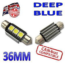 2 x 36mm Canbus Blue LED Number Plate Interior 36mm C5W 239 3 SMD Bulbs