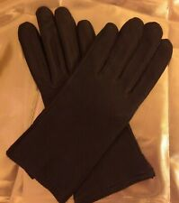 Women/'s Grandoe Soft Black Leather Wrist Gloves with Rabbit Trim sz L,S