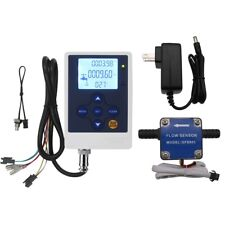 "LCD Fuel Flow Meter Oil Flow Controller 3/8"" Flow Sensor Gas Diesel Gear Counter"