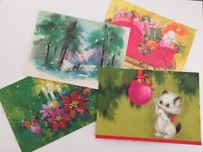 Vintage Christmas Greeting Card Lot of 4 Cat Poodle Deer Ornament Candle Glitter
