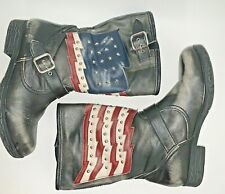 White Mountain American Flag Distressed Black Boots Kennedy Womens 9 1/2 9.5