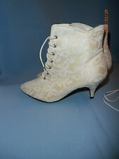 "Wedding Shoes Boot Style Lace 2.5"" Heel Size 6 Studio 6 Dress Ivory Off White"