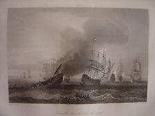 Grande gravure Combat dans la Mer du Nord en juin 1696 Bataille Navale