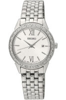 Seiko Reloj de mujer Elementos Swarovski Fecha Acero Inoxidable 28mm sur695p1