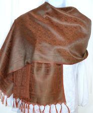 Banaras Silk Rust Orange Green Woven Paisley Design Shawl, Wrap, Stole