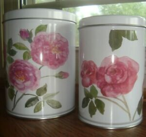 Set of 2 -  TRIPP Metal Tin Containers Kitchen Bins Canisters Floral - Display
