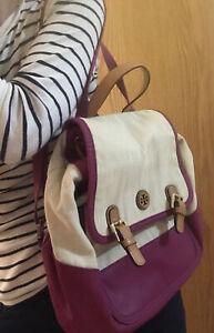 tory burch canvas soft logo backpack bag purse Designer Large euc Tote Foldable