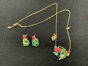 Brand New Les Nereides Crocodile Pendant With Chain And Earrings