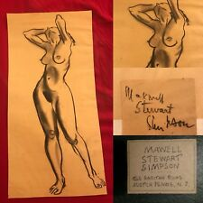 VINTAGE MAXWELL STEWART SIMPSON (1896-1984) CHARCOAL WOMAN NUDE DRAWING