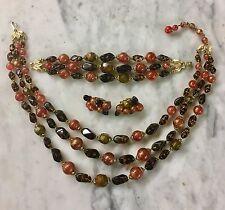 Vintage Signed Trifari Beaded Necklace Bracelet & Earrings Set Oranges & Browns