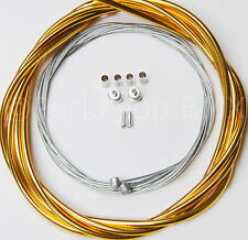 Bicycle 5mm LINED brake cable housing and hardware kit BMX MTB - SHINY GOLD