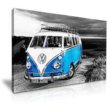 VW Camper Van Vintage Campervan Canvas Wall Art Picture Print 76x50cm