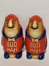 RARE Vintage Ceramarte Brazil Budweiser Bud Man Salt And Pepper Shakers