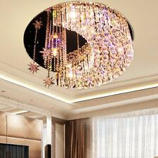 K9 Crystal Moon Star Led Chandelier Flush Mount Ceiling Lamps Lighting Fixtures