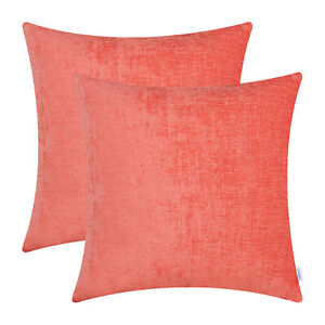 """2Pcs Living Coral Cushion Cover Pillow Shell Solid Dyed Soft Chenille Car 16x16"""""""