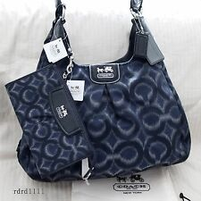 NWT COACH MADISON DENIM OP Art IKAT Signature MAGGIE TOTE BAG PURSE+WALLET NEW