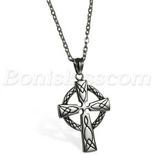 Men Vintage Classical Large Celtic Cross Irish Knot Pendant  Necklace Chain Gift